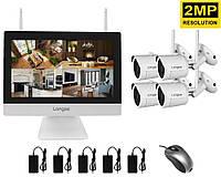 """Комплект видеонаблюдения беспроводной wifi с монитором 12"""" дюймов на 4 камеры Longse WIFI3604M4SW200, 2"""