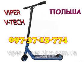 ✅ Трюковый самокат Viper V-TECH синий Самокат для трюков. Детский двухколесный трюковой самокат Колеса 110 мм