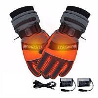 Зимние перчатки с подогревом термо лыжные Luckstone Warmspace HE329 с аккумуляторами, размер M, оранжевые