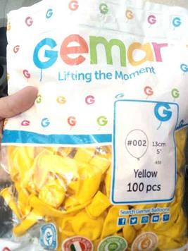 Шар воздушный А50 #002 (13см) желтый 100шт Gemar