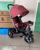 Детский трехколесный велосипед-коляска Azimut CROSSER T-350 ECO AIR NEW бордовый