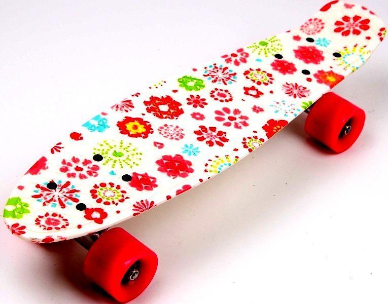 Пенни борд для девочек Penny Board 22  с рисунком Цветы на белом фоне, красные колеса