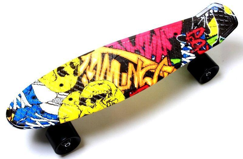 Деткий скейтборд для мальчика Penny Board 22 черный с ярким принтом