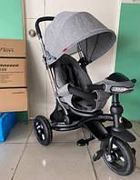 Детский трехколесный велосипед-коляска Azimut CROSSER T-350 ECO AIR NEW серый