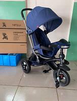 Детский трехколесный велосипед-коляска Azimut CROSSER T-350 ECO AIR NEW синий