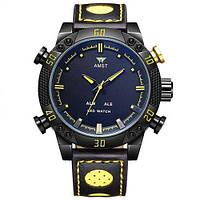 Часы мужские наручные AMST Shark+фирменная коробка в подарок black-yellow