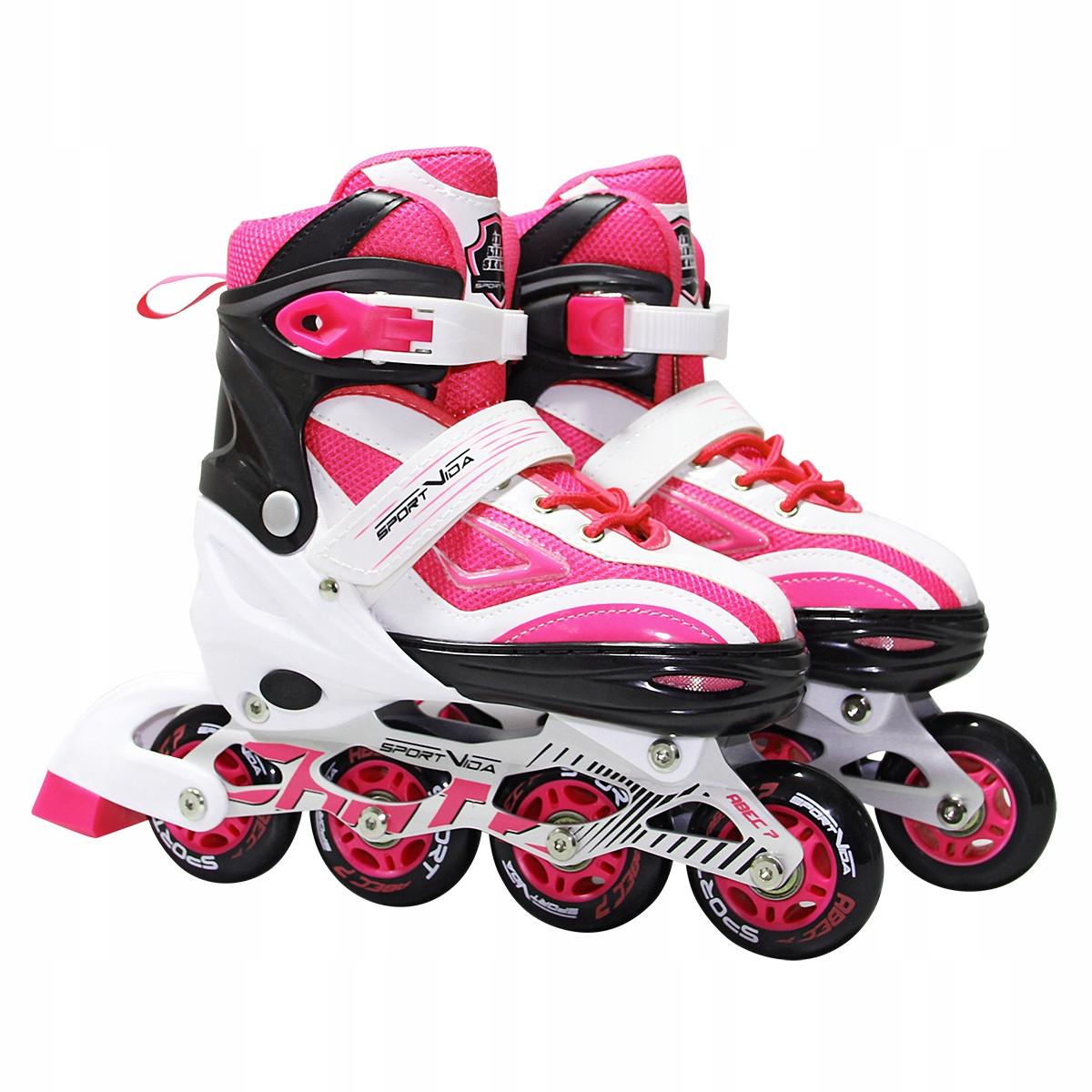 Роликовые коньки детские SportVida SV-LG0042 размер 31-34 White/Pink. Ролики для детей