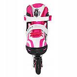 Роликовые коньки детские SportVida SV-LG0042 размер 31-34 White/Pink. Ролики для детей, фото 3