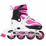 Роликовые коньки детские SportVida SV-LG0042 размер 31-34 White/Pink. Ролики для детей, фото 2