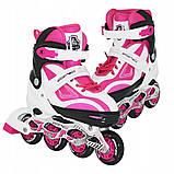 Роликовые коньки детские SportVida SV-LG0042 размер 31-34 White/Pink. Ролики для детей, фото 4