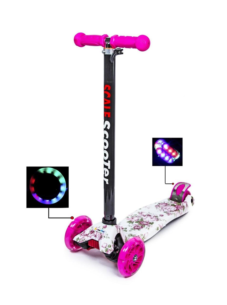 Самокат со светящимися колесами для детей от 3-6 лет до 60 кг Scale Scooter Maxi  Original