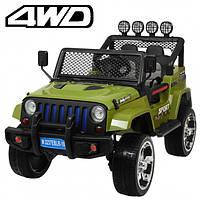 Детский электромобиль Машина Джип Jeep Wrangler хаки для мальчика девочки 3 4 5 6 7 8 лет полный привод