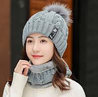 Женский вязаный комплект шапка и короткий шарф-хомут Bono 3650 gray