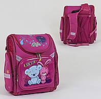 Рюкзак детский школьный каркасный для девочки С 36189 с 3 карманами, спинкой ортопедической