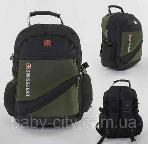 Рюкзак школьный с разъемом USB и MP3 С 43539 с 6 карманов,ортопедической спинкой, защитным чехлом