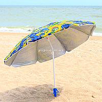 Зонт пляжный (диаметр - 1.8 м) - серебро+наклон цветы (MH-0035)