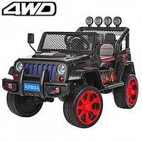 Детский электромобиль Машина Джип Jeep Wrangler черный для мальчика девочки 3 4 5 6 7 8 лет полный привод 3237