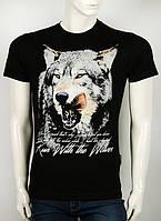 Мужская черная футболка  с головой волка
