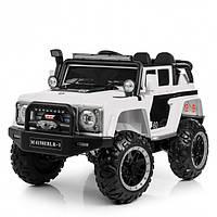 Детский электромобиль Машина Джип Land Rover белый для мальчика девочки 3 4 5 6 7 8 лет полный привод 4150EBLR
