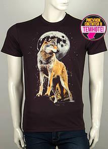 Модная легкая мужская футболка с принтом волка