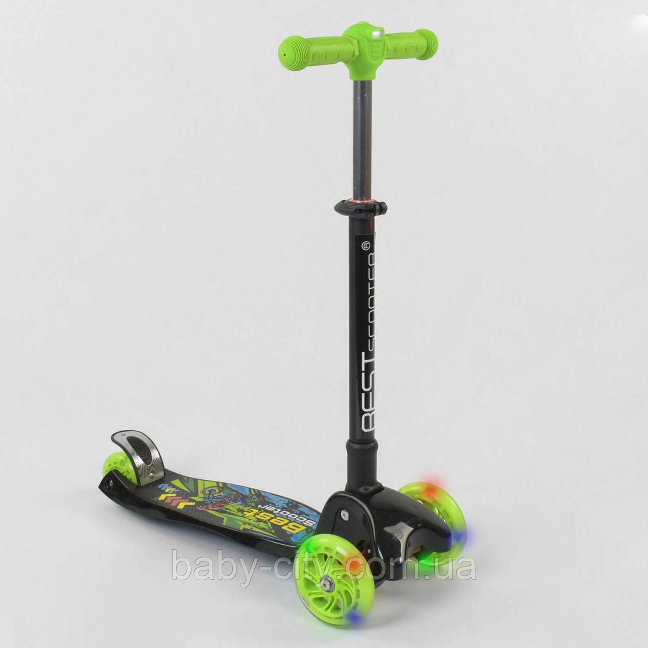 Детский трехколесный самокат с фарой Best Scooter 81472 Черный с зеленым
