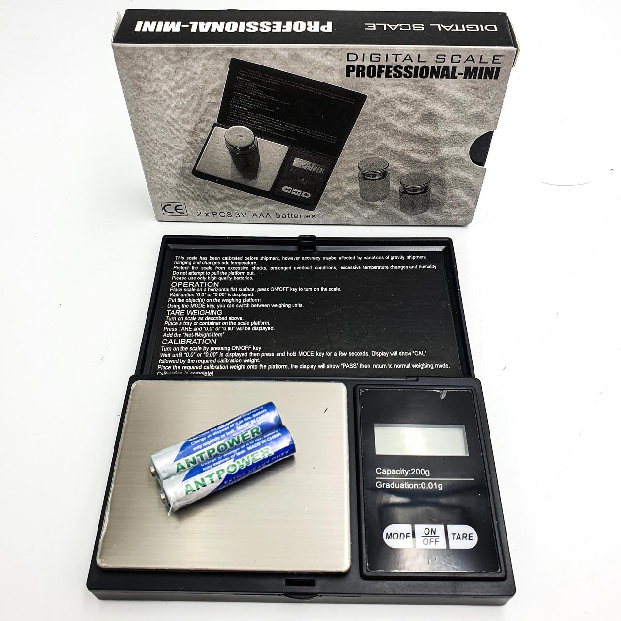 Ювелірні електронні ваги аптекарські з LCD дисплеєм поділ 0.01 г до 200 р UKC 7019
