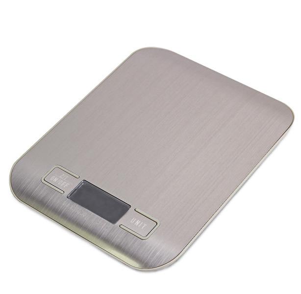 Весы кухонные электронные металлическая платформа с дисплеем 19*15*2,5см до 10 кг деление 1 г MS-33