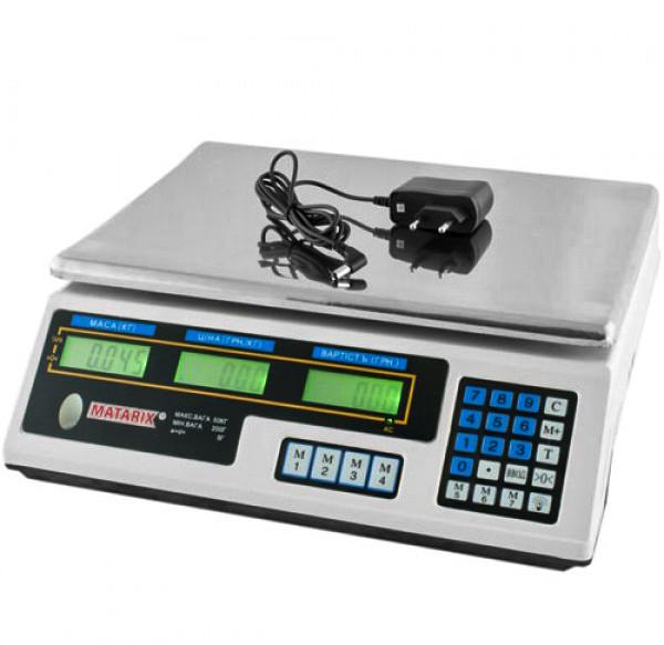 Ваги торгові з акумулятором зважування до 50кг MATARIX MX-410