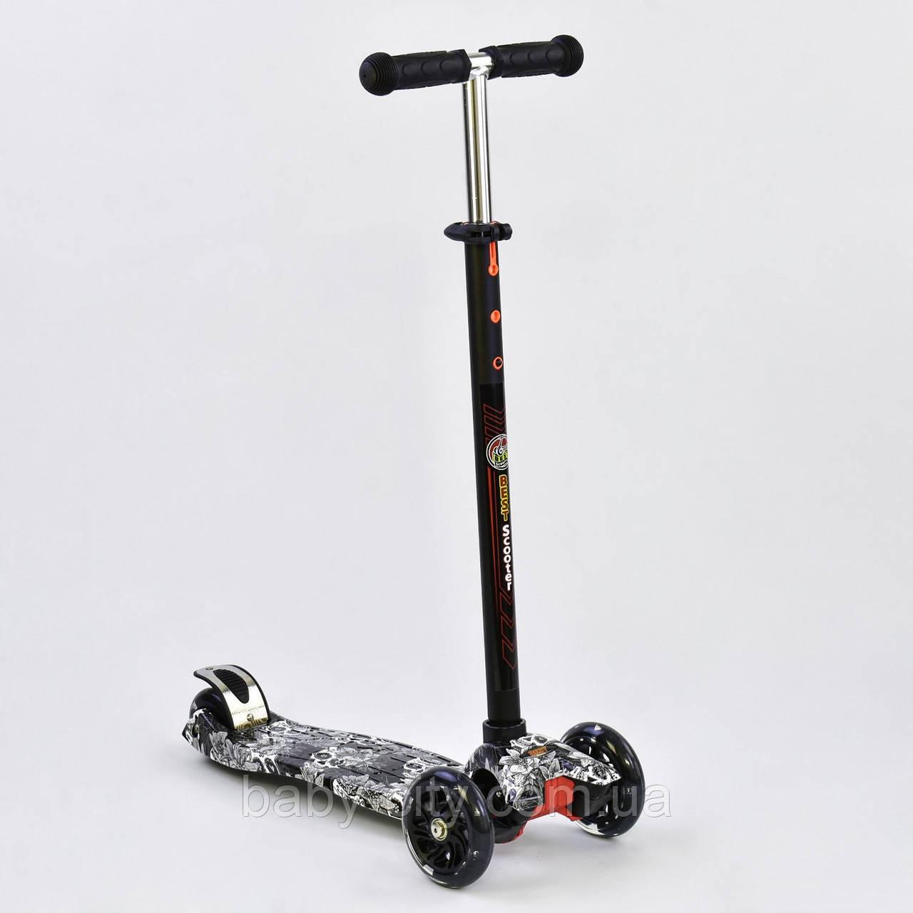 Самокат Best Scooter А 25465 /779-1320 MAXI, 4 колеса PU, свет, d=12 см, трубка руля алюминиевая