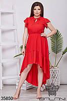 Женское воздушное летнее платье красное 48-52,54-58
