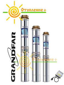 Насос скважинный центробежный GRANDFAR 75мм 3SDm1.8/20+50, кабель 50 м, 550Вт, обмотка медь