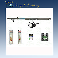 Єконом комплект для ловли хищника. Спининг Kalipso 2.1м в полном сборе + 2 блесны. (№115)