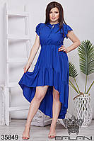 Женское воздушное летнее платье синие 48-52,54-58