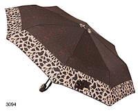 Зонт женский автомат коричневый с абстракцией, фото 1