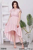 Женское воздушное летнее платье пудрового цвета 48-52,54-58
