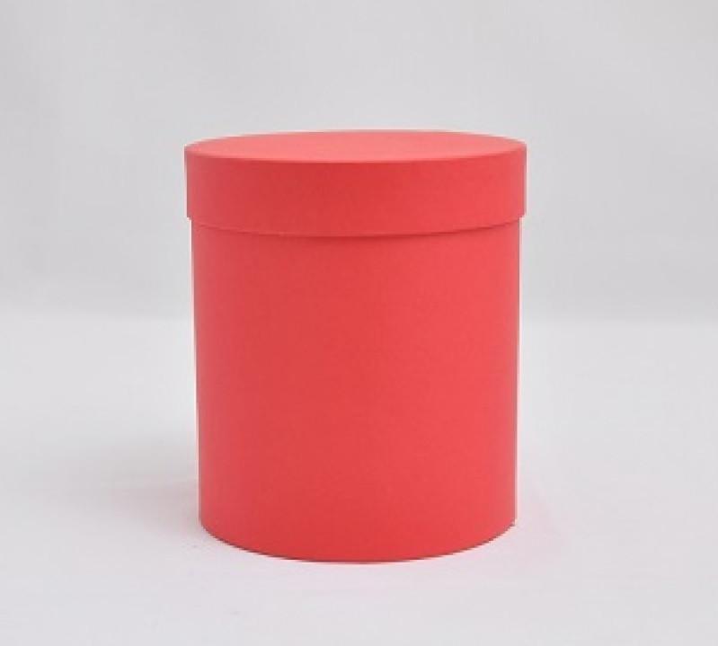 Круглая коробка с крышкой, Красная матовая, Размер 120*140мм