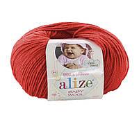 Пряжа Baby Wool 50гр - 175м (56 Красный) Alize, Детская пряжа (40%-шерсть, 20%-бамбук, 40%-акрил,Турция