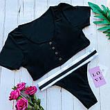 Купальник женский раздельный чёрный С М Л, фото 3