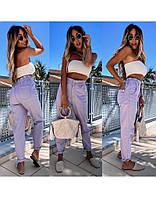 Джинсы женские Багги стильные на резинке лиловый, бежевый, белый, джинс, мята