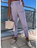Джинсы женские Багги стильные на резинке лиловый, бежевый, белый, джинс, мята, фото 2