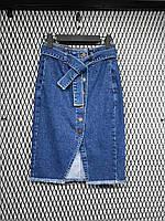 Юбка джинсовая женская на пуговицах до колен синяя, голубой, 26, 27, 28, 29, 30, 31