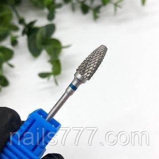 Твердосплавна фреза насадка для фрезера манікюрного з синьою насічкою