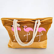 Сумка Пляжная Бежевая Фламинго Стильная Сумка модная на лето через плечо Летняя сумочка на пляж море  211-06