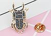 Брошь брошка значок металлический темно серый жук олень насекомое, фото 5