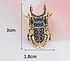 Брошь брошка значок металлический темно серый жук олень насекомое, фото 2