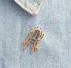 Брошь брошка значок металлический темно серый жук олень насекомое, фото 6