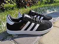 Кроссовки - кеды женские / подростковые Adidas Gazelle Black | Адидас Газельчерные