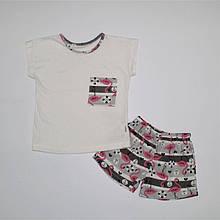 Піжама літня для дівчинки трикотаж з малюнком 92-116