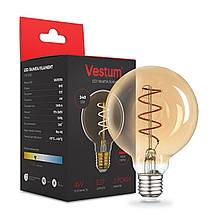 """Лампа LED Vestum філамент """"вінтаж"""" golden twist G95 Е27 4Вт 220V 2500К"""