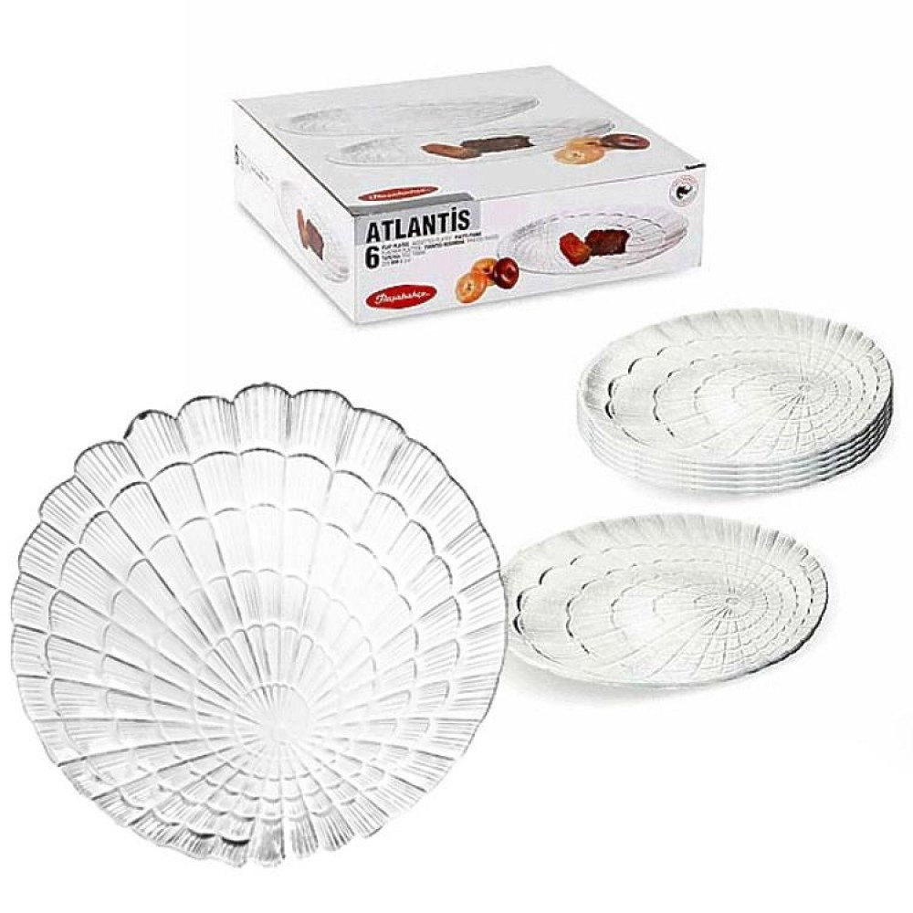 Набор стеклянных тарелок подставных Pasabahce Атлантис 240 мм 6 шт (10236)